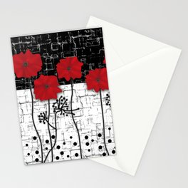 Applique Poppies on black and white background . Stationery Cards
