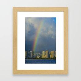 Hawaii Rainbow Landscape Framed Art Print
