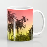 tropical Mugs featuring palm tree  by mark ashkenazi