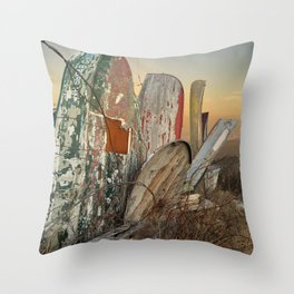 Rustic Rowboats Throw Pillow
