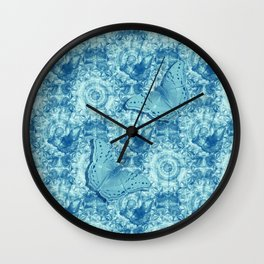 Butterflies on butterflies in blue Wall Clock