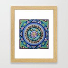 Little Turtle Mandala Framed Art Print