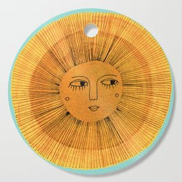 Sun Drawing - Gold and Blue Cutting Board
