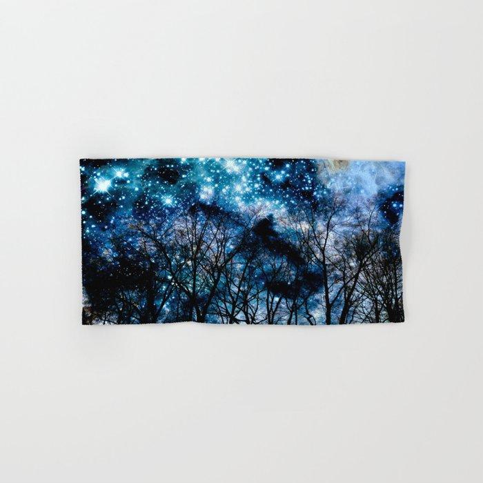 Black Trees Teal Beige Space Hand & Bath Towel