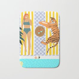 How To Vacay With Your Tiger #illustration Bath Mat