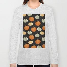 Orange yellow gray black watercolor pumpkin pattern Long Sleeve T-shirt