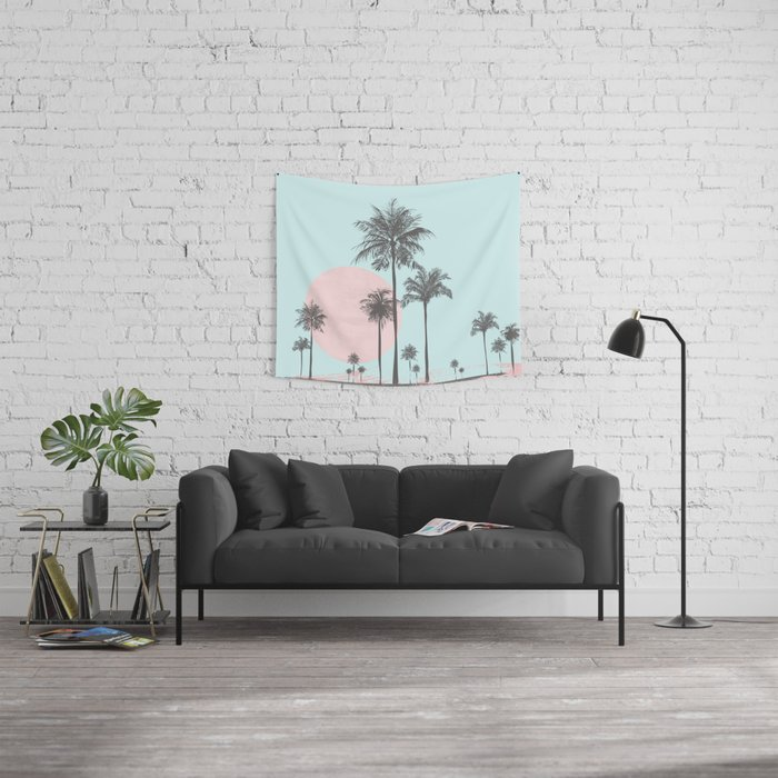 Beachfront palm tree soft pastel sunset graphic Wall Tapestry