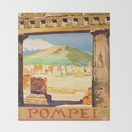 Vintage Pompei Italy Travel Throw Blanket