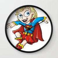 supergirl Wall Clocks featuring Supergirl! by neicosta