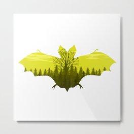 bat Silhouette yellow Metal Print