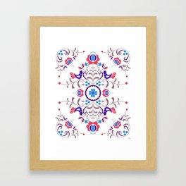 RED & BLUE  Hungarian folk art Framed Art Print