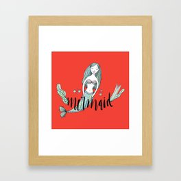 Art red sleeping mermaid Framed Art Print
