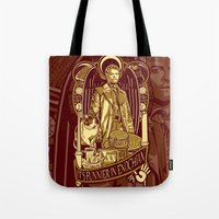 castiel Tote Bags featuring Castiel by Tracey Gurney