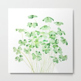 green clover leaf  watercolor arts 2021 Metal Print