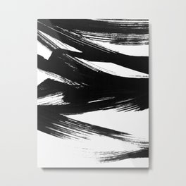 Gestural Abstract Black and White Brush Strokes Metal Print