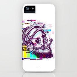 Human skull glitch iPhone Case