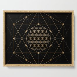 Flower of Life Black and Gold Serving Tray