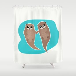 Cute Otters - Cuddle Party Shower Curtain