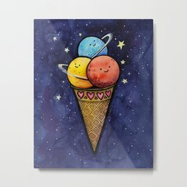 Space Ice Cream Cone Metal Print