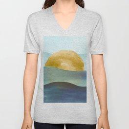 Ocean Sunset Watercolor Unisex V-Neck