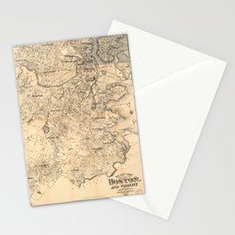 Map of the City of Boston and Vicinity (1907) Stationery Cards