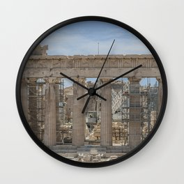 Modern and Ancient - Parthenon at Acropolis of Athens Under Construction Wall Clock
