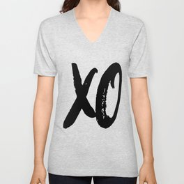 XO Hugs and Kisses Black & White Minimalist Unisex V-Neck