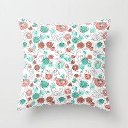 Snail Doodle in White Throw Pillow