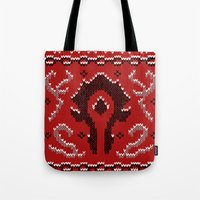 warcraft Tote Bags featuring Ugly Sweater 2 by SlothgirlArt
