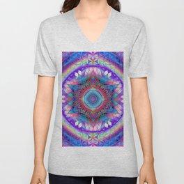 Rainbow Mandala Sacred Geometry Snowflake Unisex V-Neck