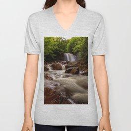 Image USA Douglas Falls North Fork Blackwater River West Virginia Nature Waterfalls river Rivers Unisex V-Neck