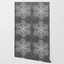 Gray Ombre Tapestry and Bohemian Ombre Mandala Bedding Wallpaper