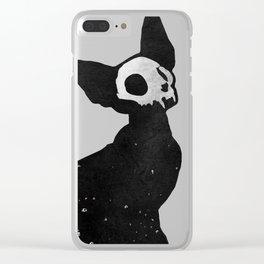 Black Cat Skull Clear iPhone Case