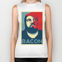bacon Biker Tanks featuring BACON by MezmoreyezGaming