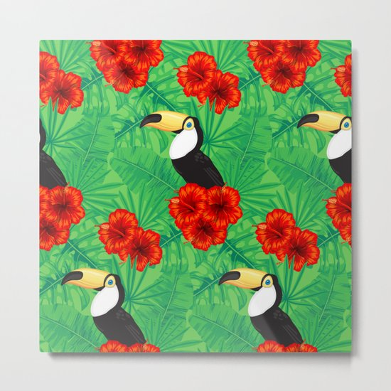 Tropical pattern with toucan and  tropical leaves Metal Print