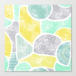 Watercolor doodle shape seamless pattern Canvas Print