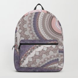 Purple Marble Pink Mandala Backpack