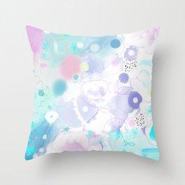 Peinture digitale tons pastels fleurs nuages bulles rose vert bleu jaune blanc Throw Pillow