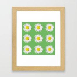 Retro Daisy Green Framed Art Print