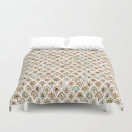 PEACOCK MERMAID Rose Gold Mint Scales and Feathers Duvet Cover