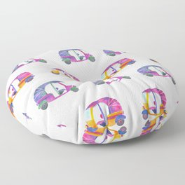 Funky rickshaws pattern Floor Pillow