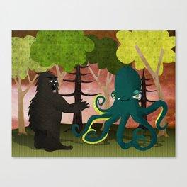 octopus vs sasquatch Canvas Print