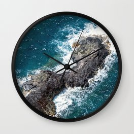 Tropical Turquoise Ocean Surf Surrounding Rocky Remote Island Wall Clock