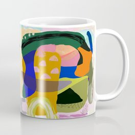 Shapes and Layers no.20 - Abstract painting olive green blue orange black Coffee Mug