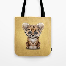 Cute Baby Leopard Cub Wearing Glasses on Yellow Tote Bag