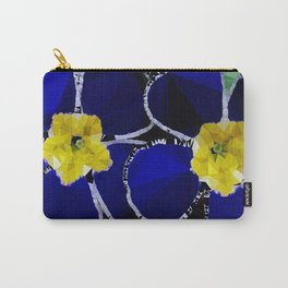 Primrose Blue Yellow Floral Low Poly Geometric Triangles Carry-All Pouch
