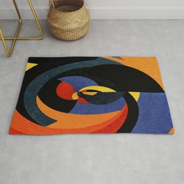 Abstract art in curved patterns Rug