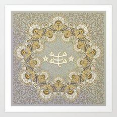 Baha'i ring stone symbol - pastels Art Print