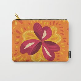 Orange And Pink Clover Abstract Floral Carry-All Pouch