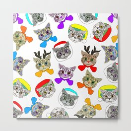Holiday Festive Party Cats Metal Print